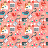 Veterinary seamless pattern. Vet clinic. Flat design. Red background. Vector Royalty Free Stock Images