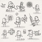 VETERINARY. Set of medical black and white cartoons - VETERINARY Stock Images