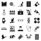 Veterinary surgeon icons set, simple style Royalty Free Stock Images
