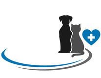 Veterinary symbol with blank place. And pets silhouettes Stock Photo