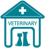 Veterinary symbol with home clinic and pet. Veterinary symbol with home clinic silhouette and pet - cat and dog