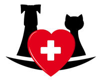 Veterinary symbol with pets and heart Stock Photo