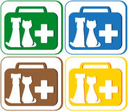 Veterinary symbol with portfolio and pet dog with. Colorful green, blue, red and yellow set with veterinary symbol - portfolio and pet dog with cat Royalty Free Stock Image
