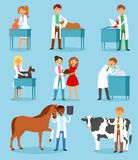 Veterinary vector veterinarian doctor man or woman treating pet patients cat or dog illustration set of vet people with. Animalistic characters in vetclinic Royalty Free Stock Photography