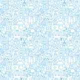 Veterinary White Line Seamless Pattern. Vector Illustration of Outline Tileable Background Stock Image
