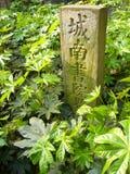 vetical绿色地标的石头 免版税库存图片