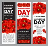 Vetical posters fo remembrance day. Three vertical vector posters about Remembrance day. Vector banners 11 of November concept. Creative design in tragic colors Vector Illustration