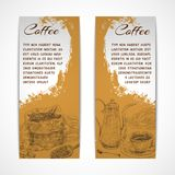 Vetical retro coffe set banners Stock Photos