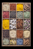Vetical wooden box with spices and herbs Stock Image