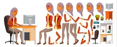 Vetor árabe do trabalhador de escritório da mulher Mulher animated Caixeiro profissional Fêmea adulta do negócio Gerador do estil ilustração royalty free