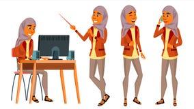 Vetor árabe do trabalhador de escritório da mulher Mulher jogo Hijab islamic Ser humano do negócio Gerador do escritório Senhora  ilustração do vetor