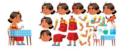 Vetor árabe, muçulmano da criança do jardim de infância da menina Grupo da criação da animação Emoções da cara, gestos Criança, e ilustração royalty free
