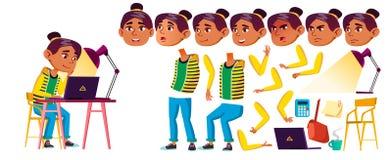 Vetor árabe, muçulmano da criança da menina Aluno alto Grupo da criação da animação Emoções da cara, gestos Estudo das crianças ilustração royalty free