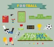 Vetor - ícones lisos ajustados de elementos do futebol Foto de Stock Royalty Free