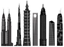 Vetor 1 dos edifícios do arranha-céus ilustração stock
