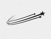 Vetor abstrato da estrela de queda - estrela de tiro preta com a fuga elegante da estrela no fundo branco - meteoro, cometa ilustração do vetor