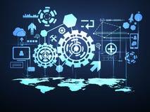 Vetor abstrato do conceito do mapa de rede global da tecnologia Imagens de Stock Royalty Free