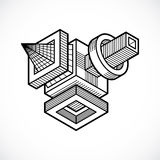 Vetor abstrato, forma dimensional isométrica ilustração stock