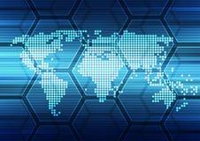 Vetor abstrato global da solução da tecnologia do fundo, ilustração Foto de Stock Royalty Free