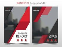 Vetor abstrato vermelho do molde do projeto do informe anual do folheto do triângulo Cartaz infographic do compartimento dos inse ilustração stock