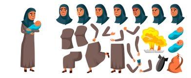 Vetor adolescente árabe, muçulmano da menina Grupo da criação da animação Emoções da cara, gestos Matriz com criança animated Exp ilustração do vetor