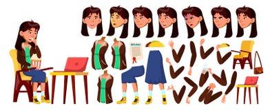 Vetor adolescente asiático da menina Grupo da criação da animação Emoções da cara, gestos Cara Crianças animated para anunciar ilustração do vetor