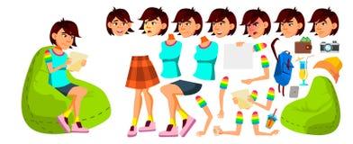 Vetor adolescente asiático da menina Grupo da criação da animação Emoções da cara, gestos Engraçado, amizade animated Para a apre ilustração do vetor