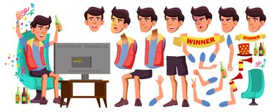 Vetor adolescente asiático do menino Grupo da criação da animação Emoções da cara, gestos Amigável, elogio animated Para a aprese ilustração royalty free
