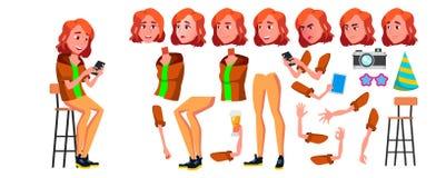 Vetor adolescente da menina Grupo da criação da animação Emoções da cara, gestos Povos adultos ocasional animated Para a apresent ilustração do vetor