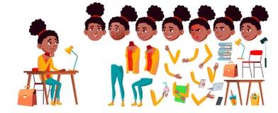 Vetor adolescente da menina Grupo da criação da animação preto Afro-americano Emoções da cara, gestos Pessoa positiva animated pa ilustração do vetor