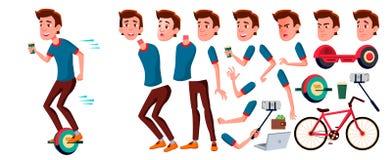 Vetor adolescente do menino Grupo da criação da animação Emoções da cara, gestos Cara Crianças animated Para anunciar, brochura ilustração do vetor