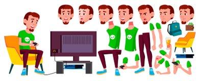 Vetor adolescente do menino Grupo da criação da animação Emoções da cara, gestos Pessoa positiva animated Para a Web, folheto, ca ilustração stock
