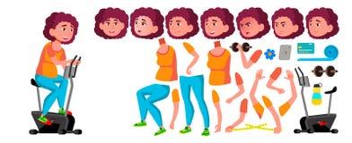 Vetor adolescente gordo da menina Grupo da criação da animação Emoções da cara, gestos Amigos, vida animated Dieta, aptidão, saúd ilustração royalty free