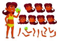 Vetor adolescente indiano da menina Hindu no parque da água, praia, associação lifestyle Emoções da cara, vários gestos animation ilustração stock