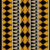Vetor africano do teste padrão com o desenho étnico tribal tirado mão com cores do ouro Ilustra??o sem emenda do projeto para a m ilustração do vetor