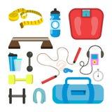 Vetor ajustado ícones da aptidão O esporte utiliza ferramentas acessórios Escalas, ilustração royalty free