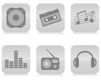Vetor ajustado ícones da música. Imagens de Stock