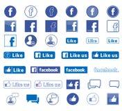 Vetor ajustado ícones de Facebook ilustração royalty free