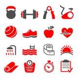 Vetor ajustado ícones do clube de aptidão Foto de Stock Royalty Free