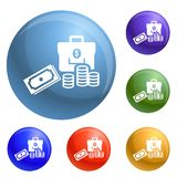 Vetor ajustado ícones do dinheiro ilustração royalty free