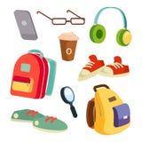 Vetor ajustado acessórios dos artigos dos estudantes Trouxas coloridas da escola Vidros, telefone, caneca de café, sapatilhas, fo ilustração stock