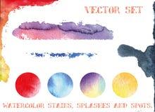 Vetor ajustado: as manchas da aquarela, espirram e pontos Imagem de Stock Royalty Free