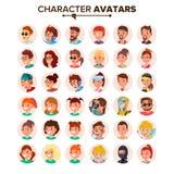 Vetor ajustado Avatars dos povos Placeholder do Avatar do caráter do defeito Cara, emoções Liso, desenhos animados, Art Flat Isol ilustração stock
