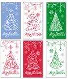Vetor ajustado: 2014 cavalos à moda Árvore de Natal, decorações ilustração do vetor