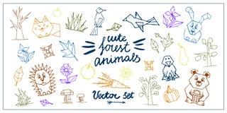 Vetor ajustado com animais da floresta ilustração stock
