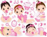 Vetor ajustado com bebês bonitos, brinquedos e acessórios ilustração royalty free