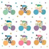 Vetor ajustado com ciclistas Imagem de Stock