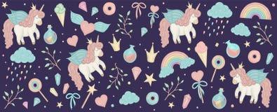 Vetor ajustado com cliparts do unicórnio Bandeira horizontal com arco-íris bonito, coroa, estrela, nuvem, cristais para meios soc ilustração stock