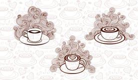Vetor ajustado com copos de café Imagens de Stock Royalty Free