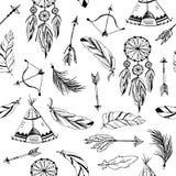 Vetor ajustado com elementos tribais, indianos ilustração stock